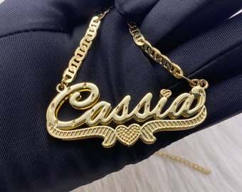 Custom Name Necklace, Nameplate Necklace, Double Name Plate, Gold Name Necklace, Silver Name Necklace, Custom Nameplate, Gift For Her