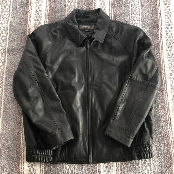 Men's black leather jacket // GENUINE LEATHER jack