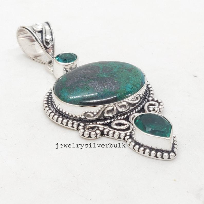 Jewelry Ss688 Blue Topaz Silver Pendant Emerlad Gemstone 925 Sterling Silver Chrysocolla Handmade