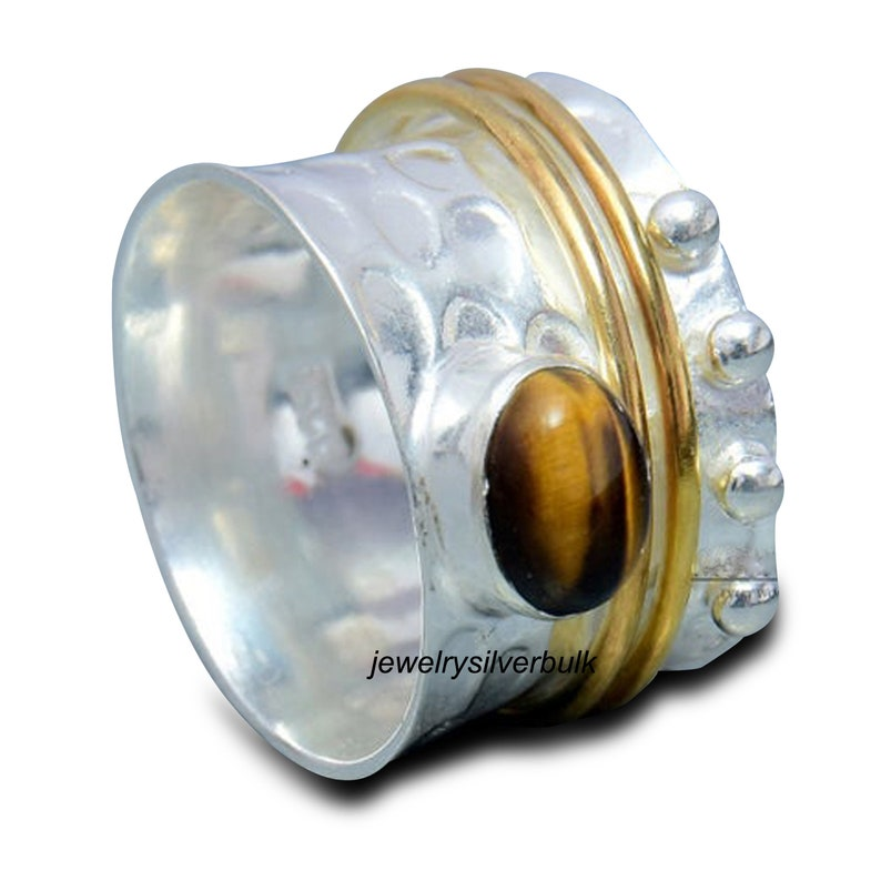 100/% Pure 925 Sterling Silver Handmade Ring Tiger/'s Eye Gemstone Spinner Ring Party Ring Jewellery Ss 835
