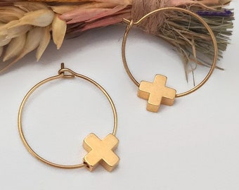 Rustic brass bead jewelry Dainty lilac bracelet for women Plus sign jewelry Minimalist gift idea Simple beaded bracelet with cross