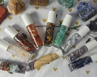 Crystal Infused Essential Oil Roller Bottle Talisman
