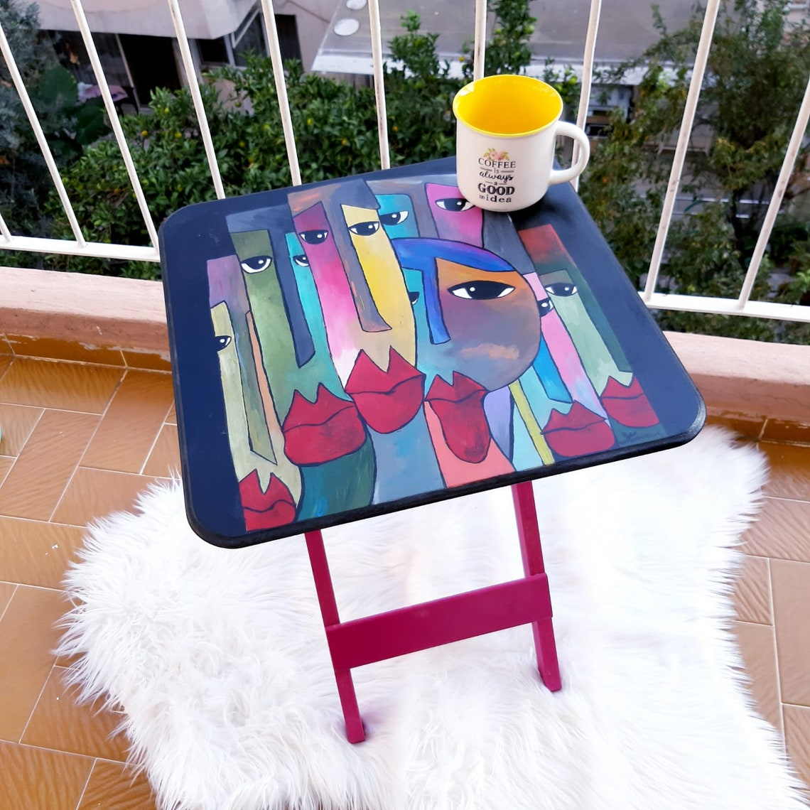 Wooden Table For Children, Hand Painted Children Desk, Desk for Kids