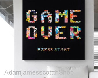 A4 Retro Game Over Poster Size A4 Platform Video Gaming Poster Gift #14686