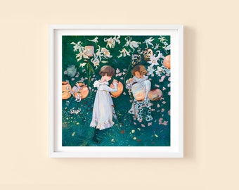 Carnation, Lily, Lily, Rose - Children's or Nursery wall art print - Children's décor – Classic art décor – Art history décor