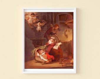 The Holy Family with Angels - Children's or Nursery wall art print - Children's decor - Religious decor - Family decor - Classic art decor