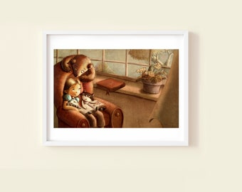 Reading Surprise - Children's or Nursery wall art print - Children's room décor