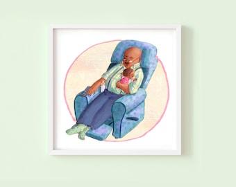 Nap with Grandpa - Children's or Nursery wall art print - Children's room décor