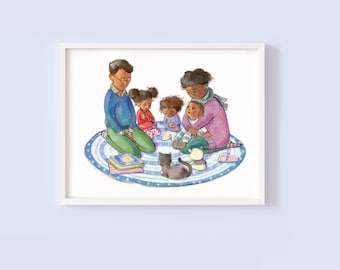 A Family that Prays Together - Children's or Nursery wall art print - Children's room decor