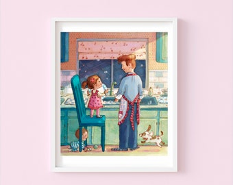 Dishes with Daddy - Children's or Nursery wall art print - Children's room décor