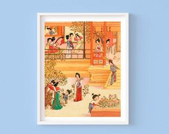 Girl's Night - Children's or Nursery wall art print - Children's room decor - Cultural room decor - Art History - Chinese Family art