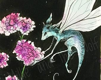Flower Faerie 'Thrift' - A4 Giclee Print, flower fairies, fairy art, fairy print, fairytale art, fairytale print, flower art.