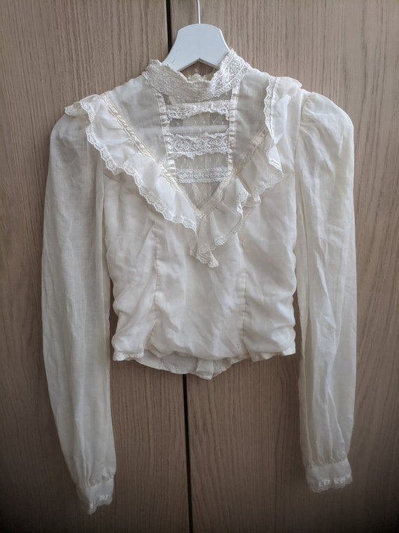 """White Vintage Blouse """"Jessica's Gunnies"""" Victorian"""