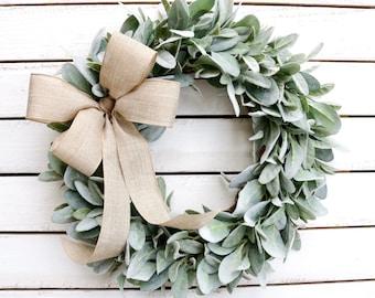 Lamb's Ear Wreath, Farmhouse Wreath, Year Round Wreath, Front Door Wreath, Wedding Wreath, Spring Decor, Winter Wreath, Christmas Wreath