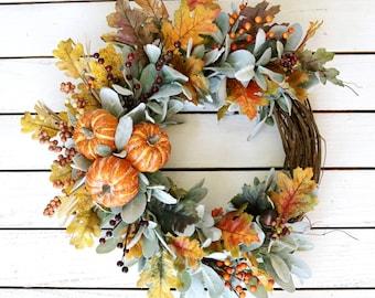 Fall Lambs Ear and Pumpkin Wreath, Autumn Berry Wreath, Halloween Wreath, Farmhouse Wreath, Thanksgiving Wreath, Rustic Front Door Decor,