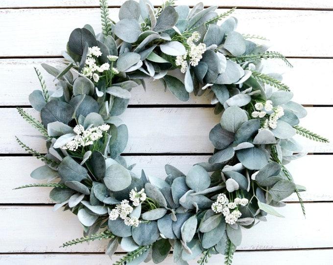 Year Round Lamb's Ear and Eucalyptus Wreath, Farmhouse Wreath for Front Door, Year Round Greenery Wreath, Everyday Wreath, Rustic Wreath