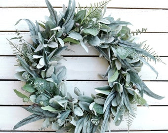 Year Round Eucalyptus and Lambs Ear Wreath, Winter Wreaths for Front Door, Spring Wreath for Front Door, Greenery Wreath, Farmhouse Wreath