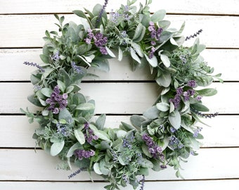 Lavender and Greenery Wreath, Farmhouse Wreath, Year Round Wreath, Farmhouse Decor, Front Door Wreath, Spring Wreath
