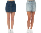 Almost Famous Women 39 s Juniors Button Front High Rise Denim Skirt