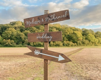 Large Rustic Wedding Directional Sign, Wedding Arrow Sign, Personalised Wedding Signpost, Wooden Wedding Sign, Personalised Wedding Sign