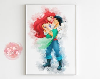 Illustration Poster Ariel Bad Day Disney fan art La sirenita Little Mermaid Handmade Fun Art Drawing Princesses Decoration