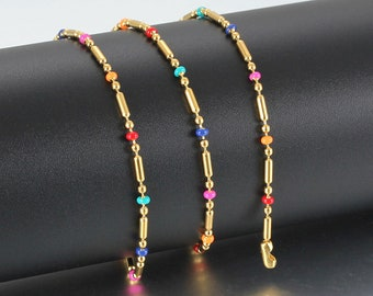 100/% Natural Bamboo Cord Anklet Bracelet With Stones and Beads Cross