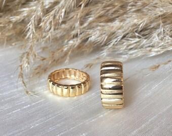 Gold Ring I Plated Ring I Croissant Signet Ring I Twist Ring I I Adjustable Ring I Handmade I Dainty Ring I Chunky Ring