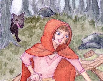 Red Riding Hood - print   Original fairytale watercolor painting print   art gift