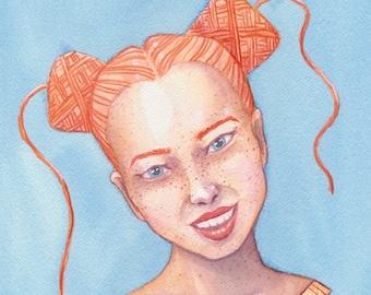 Yarnhead Cakes - A5 print   yarnlover illustration   original watercolor painting print   yarn art gift