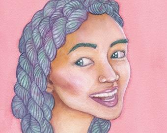 Yarnhead Skeins - A4 print   yarnlover illustration   original watercolor painting print   yarn art gift