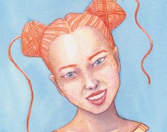 Yarnhead Cakes - A4 print   yarnlover illustration   original watercolor painting print   yarn art gift