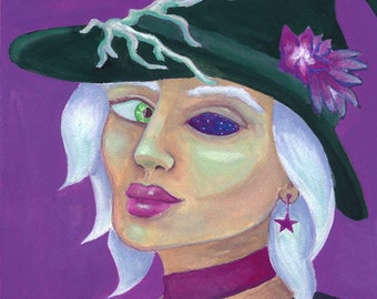 Galaxy Witch Sees You - print   Original gouache painting print   art gift