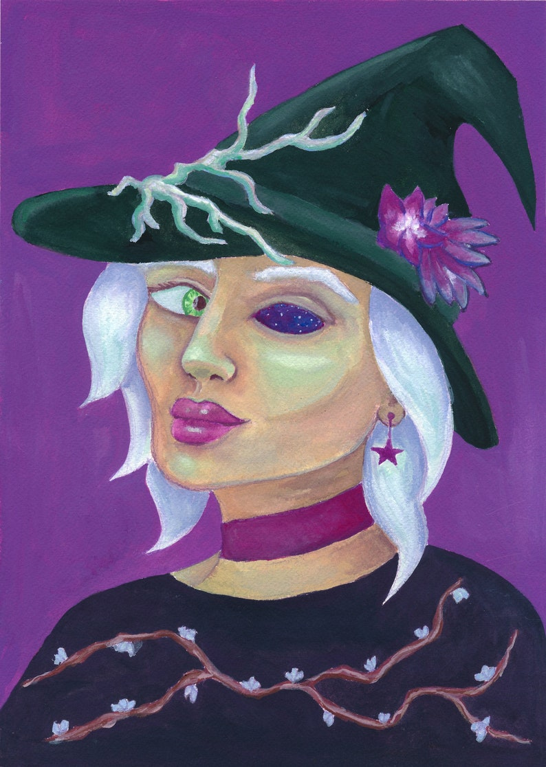 Galaxy Witch Sees You  print  Original gouache painting image 0
