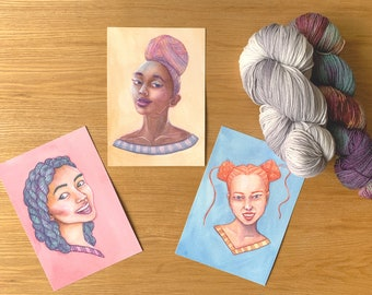 Yarnhead series - print discount pack   yarnlover illustration   original watercolor painting print   yarn art gift