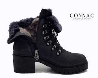 Women's Fur Boots, Fur Suede Leather Boots, Zipper Women's Boots, Navy Womens Boots, Handmade Boots, Winter Boots, Ankle Boots