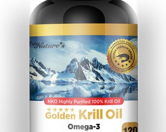 PNC] Golden Krill Oil Omega 3 NKO Highly Purified 100% Krill Oil - 120 Caps - Healthcare Supplement -