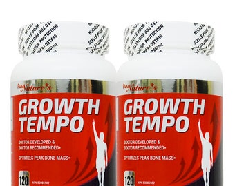 PNC] Two Bottles of Growth Tempo - Health Supplements - 120 caps - Optimizes Peak Bone Mass + Containing various growth hormone ingredients