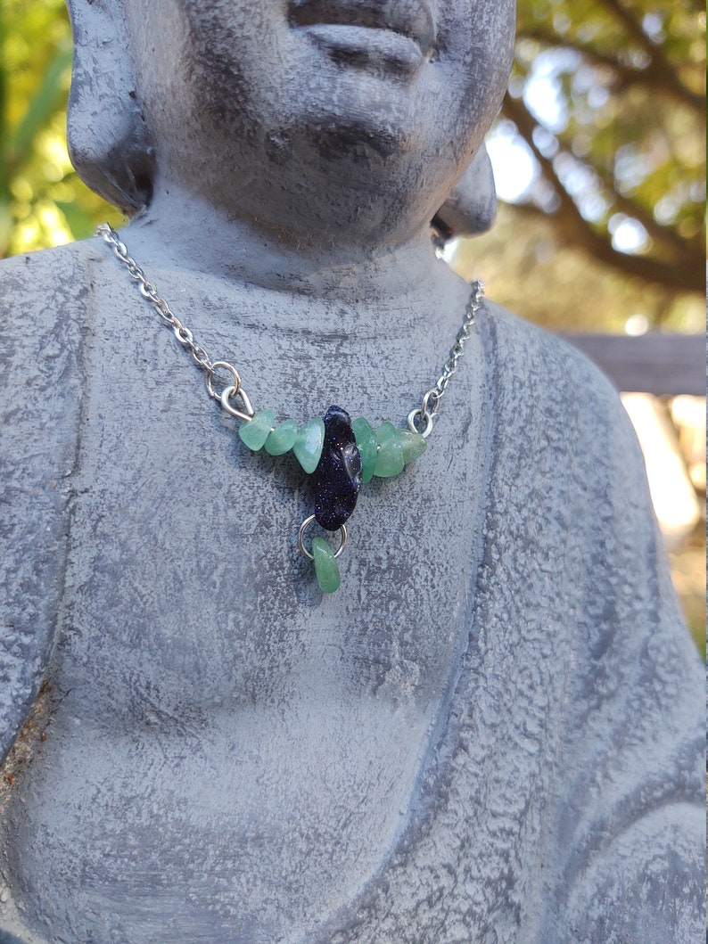 Jade and Blue Goldstone Necklace in Silver Chain
