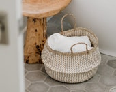 Provence Large Seagrass Wicker Belly Basket with Handles - Bohemian Woven Storage, Plant Holder, Home Decor