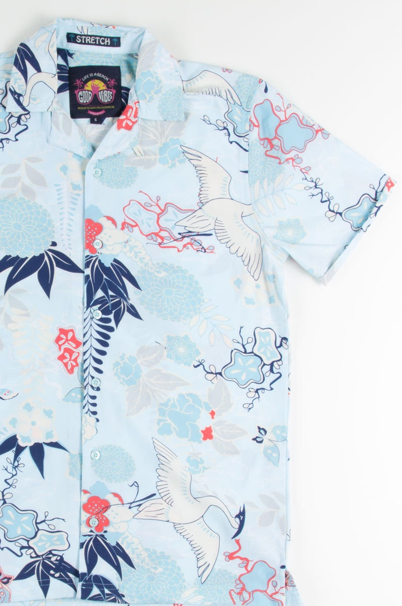 Retro Pastel Cranes Hawaiian Shirt