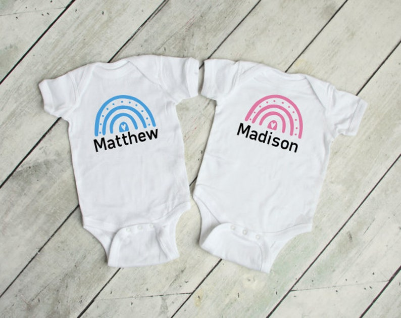 Rainbow Baby vest Baby announcement Baby 2021 Baby grow girlboy Baby shower gift Personalised Twin set new baby gift Mother to be