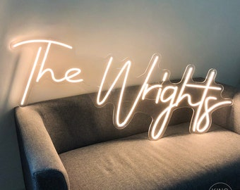 Neon Wedding Sign Wedding Decor The Wrights Custom Family Name Neon Sign Wall Decor For Wedding Backdrop Reception Party Decoration