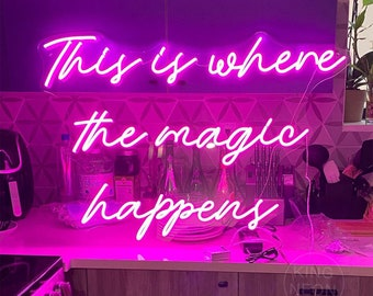 This is where the magic happens,Salon Office Decor,Neon Sign Bedroom,Home Bar Wall Decoration,Party Decor,Shop Signage