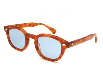 Johnny Depp Style Sunglasses Blonde with Blue Lenses 44 or 47