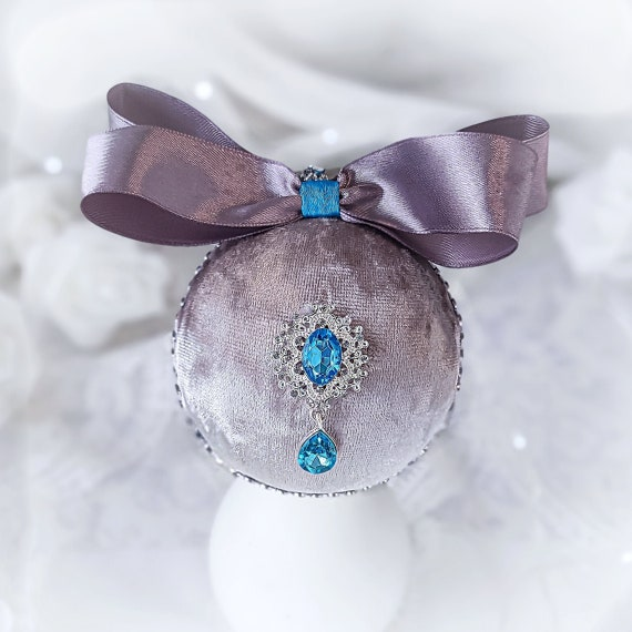 Velvet Christmas ornament handmade vintage gray turquoise bauble with tiffany pearl rhinestones, Victorian shabby chic tree decorations gift