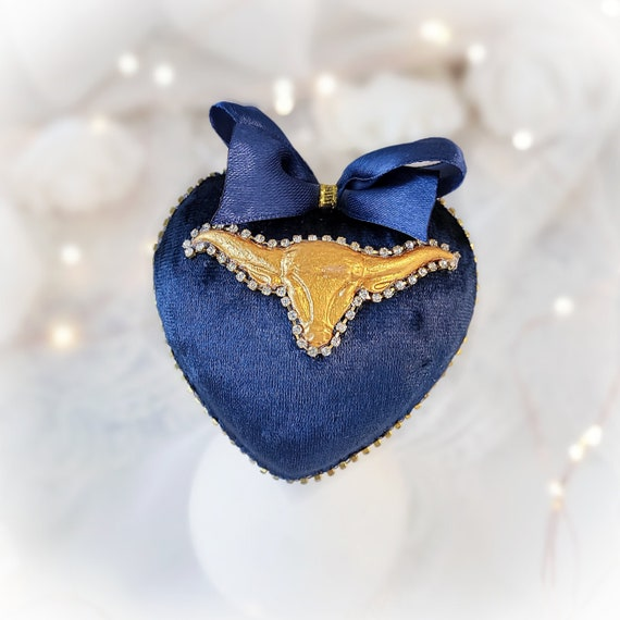 Velvet Christmas ornament handmade vintage dark-blue heart-shaped bauble with gold OX / BULL, tree decoration 2021 year symbol gift