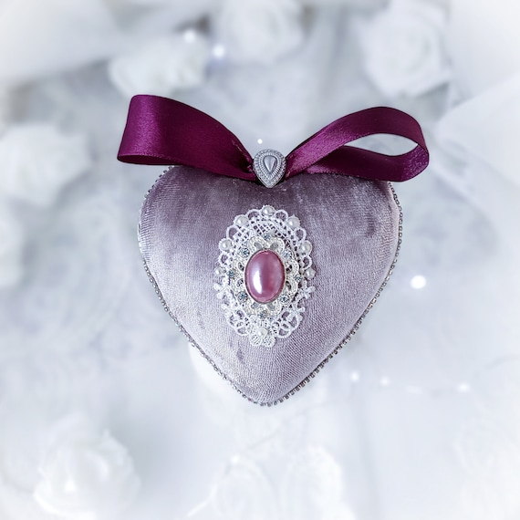 Velvet Christmas ornament handmade vintage lavender heart-shaped bauble with pink pearl, rhinestones, laces, Victorian shabby chic gift Xmas