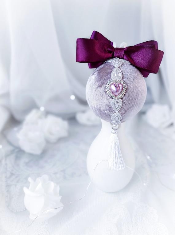 Velvet Christmas ornament handmade vintage lavender bauble with pink pearl heart, tassel, purple satin bow, Victorian shabby chic gift Xmas