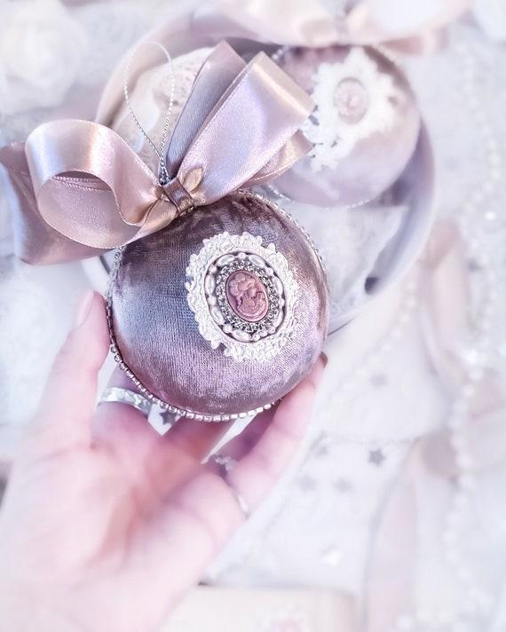 Velvet Christmas ornament handmade vintage mocha baubles with rhinestones, satin bow Victorian shabby chic tree decorations