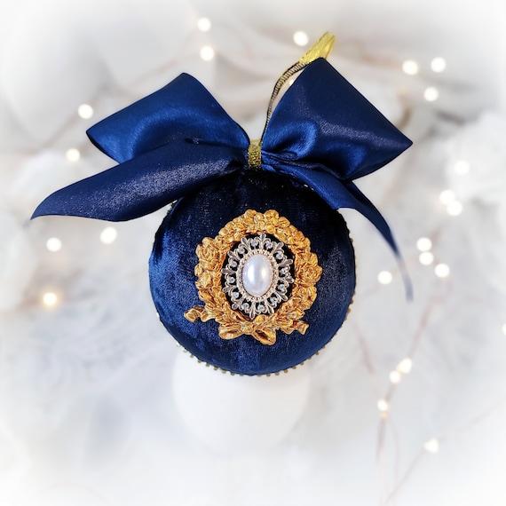 Velvet Christmas ornament handmade vintage navy blue bauble golden stucco pearls, rhinestones, royal sapphire Victorian tree decoration gift